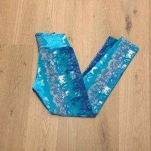 Liquido High Waist Crop Tie Dye Yoga Leggings Blue